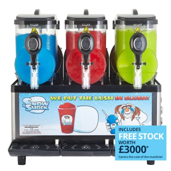 Image of SnowShock machine - three colours with label