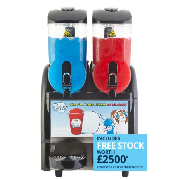 Image of SnowShock machine - two colours with free stock label