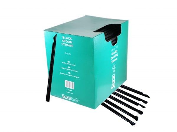 Box of black spoon straws