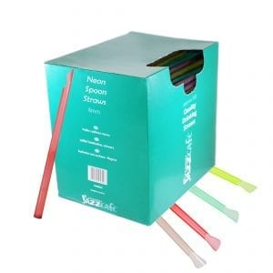 Box of neon spoon straws