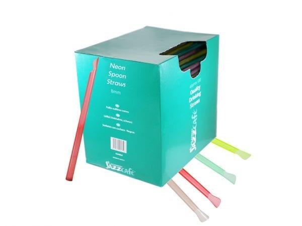 Box of neon spoon straws
